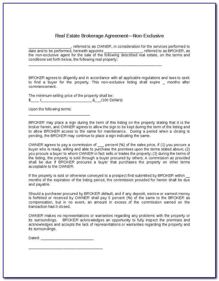 Broker Agreement Sample Real Estate