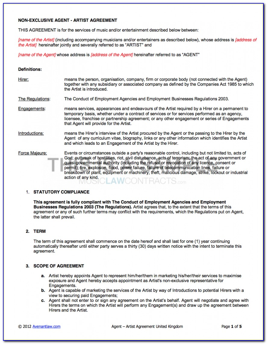 Agency Artist Contract Template (uk Use Only) Booking Agent Contract Agreement
