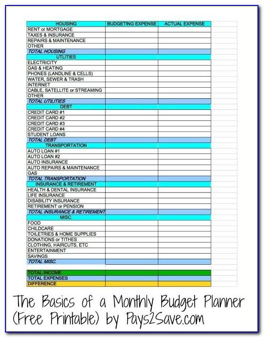 Budget Planner Free Printable Worksheets
