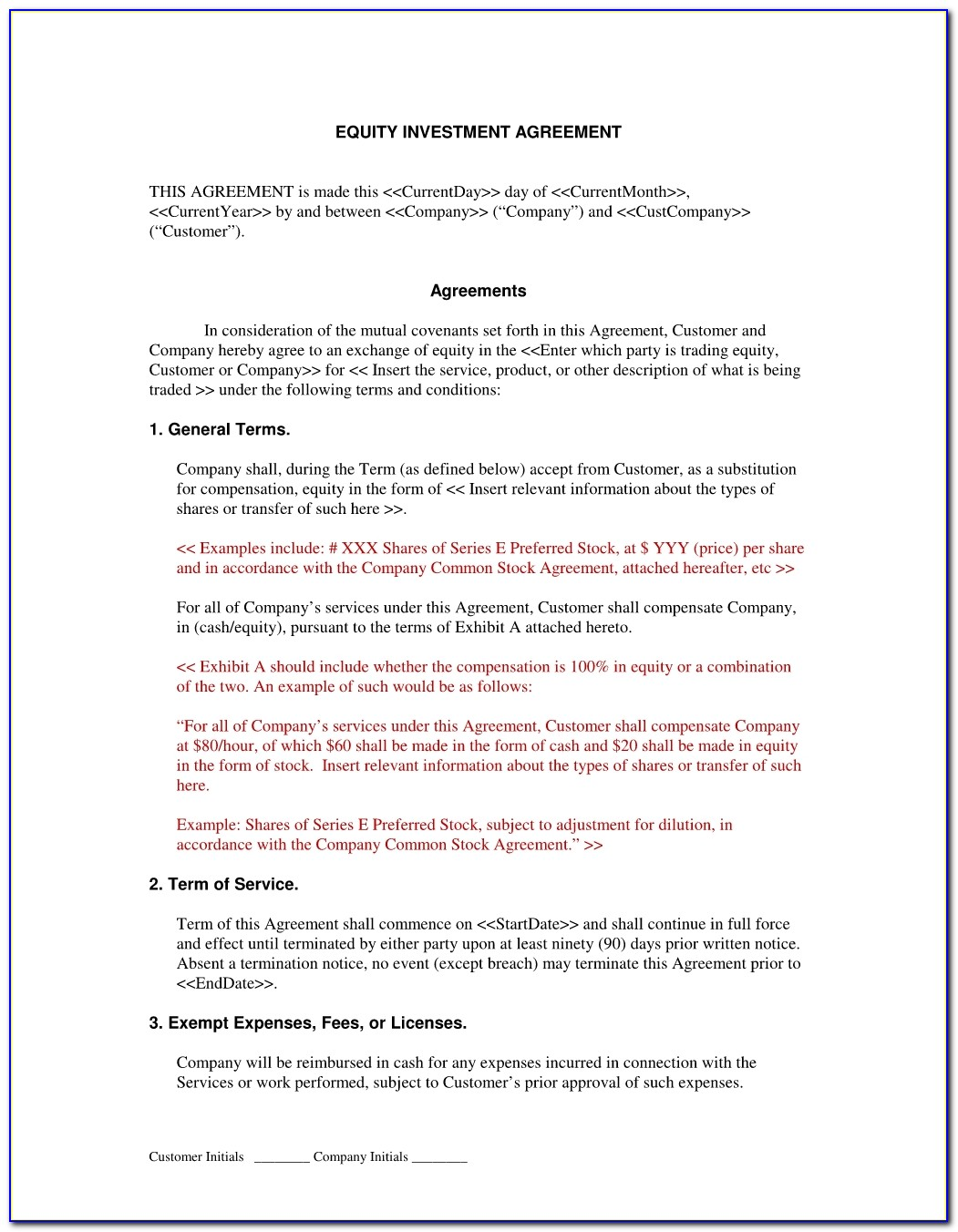 Investment Contract Template Inside Investor Agreement Template