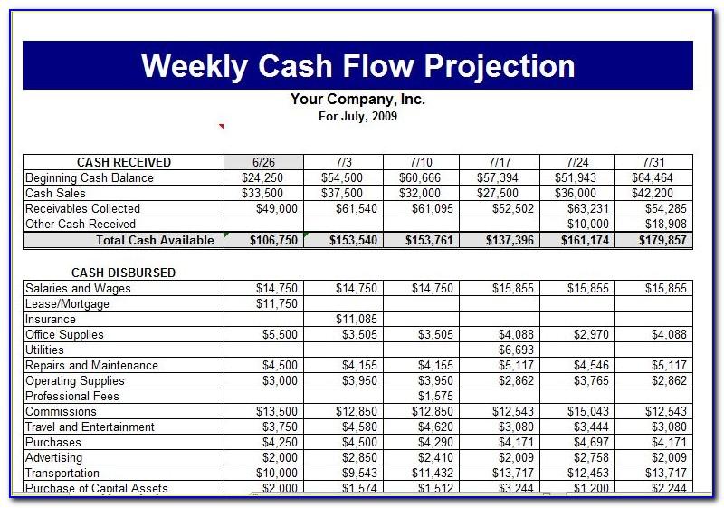 Business Cash Flow Template Excel