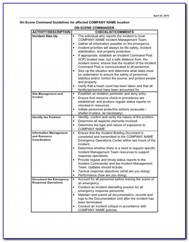 Business Continuity Incident Management Plan Template