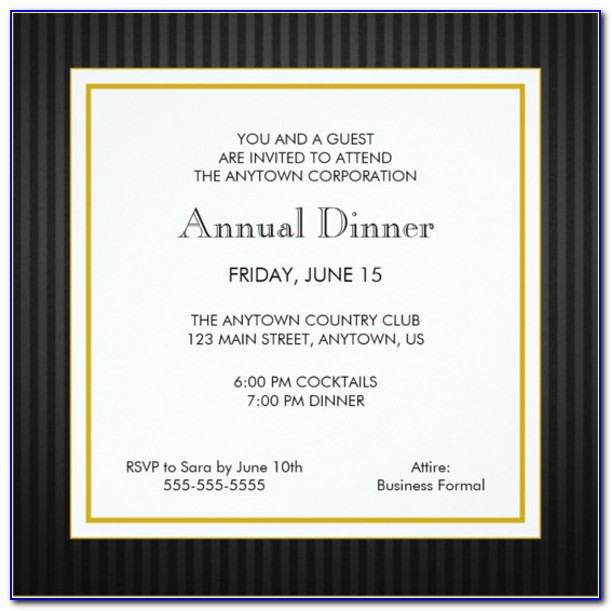Business Dinner Invitation Template