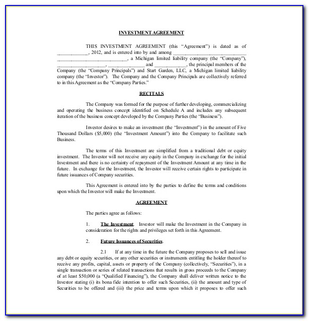 Business Investment Agreement Template Free