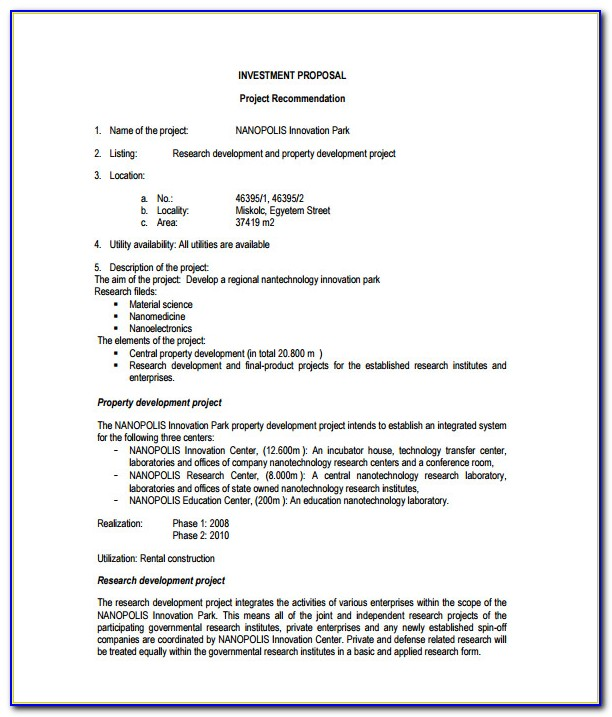 Business Investment Proposal Template Doc