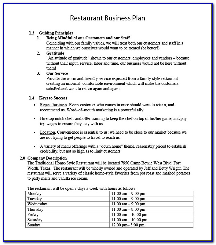 Business Plan Template Cafe