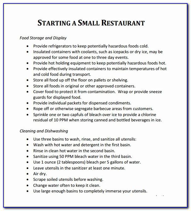 Business Plan Template For Startup Restaurant