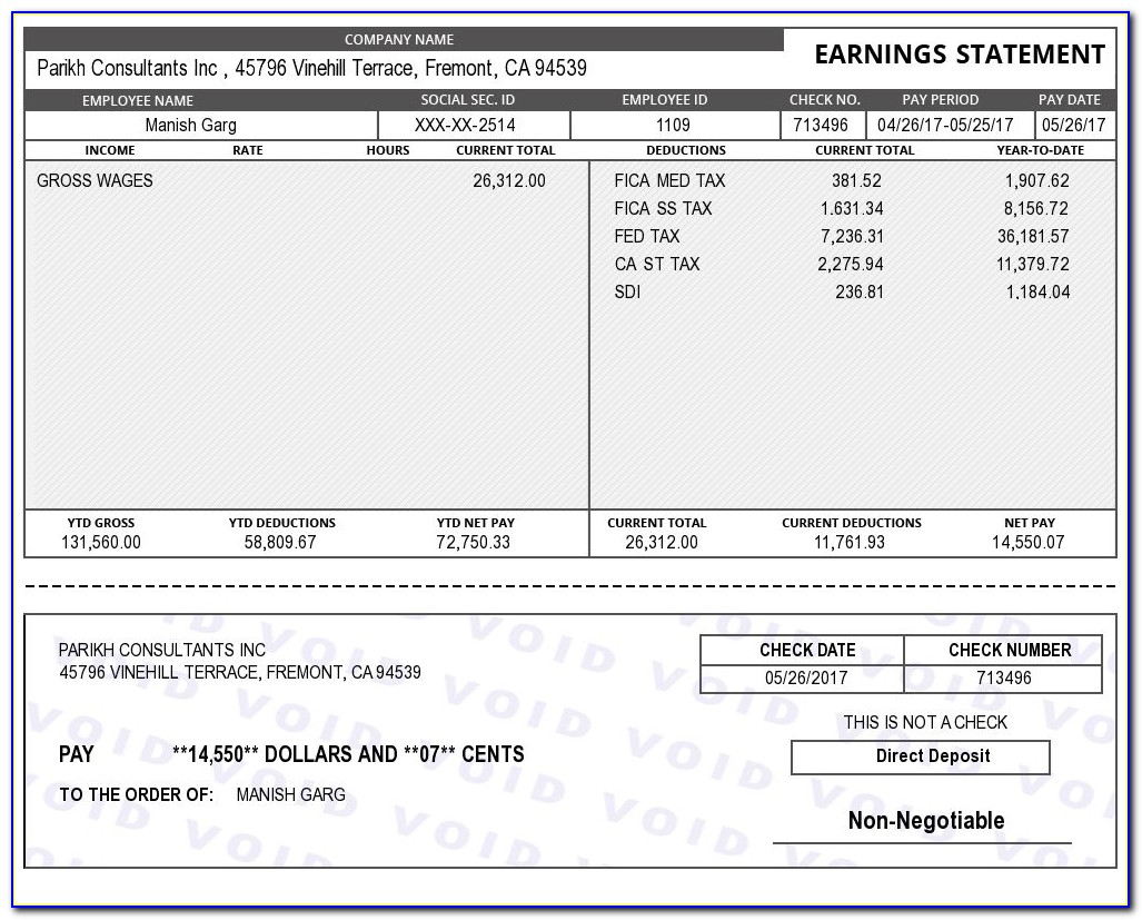 Canadian Printable Pay Stub Template Free