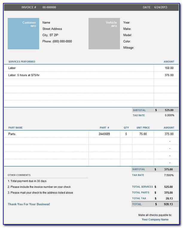 Car Invoice Template Word