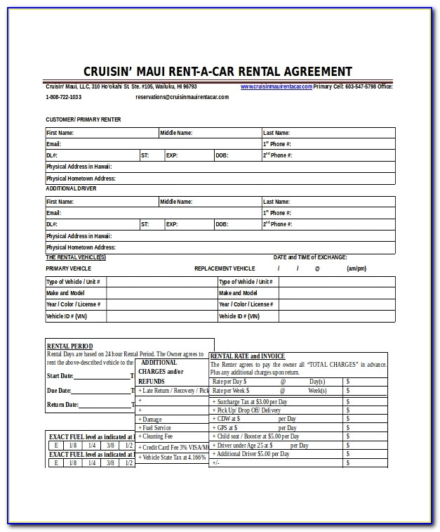 Car Rental Contract Example