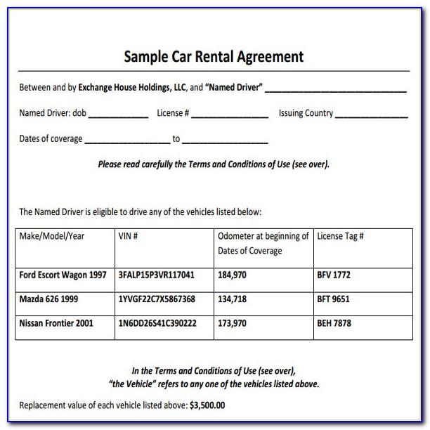 Car Rental Contract Format