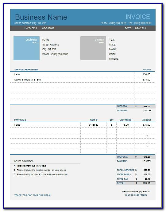 Car Service Invoice Formatcar Service Invoice Format