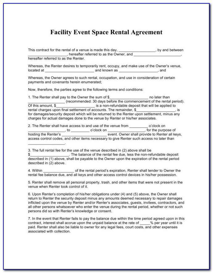 Car Space Rental Agreement Template Nsw