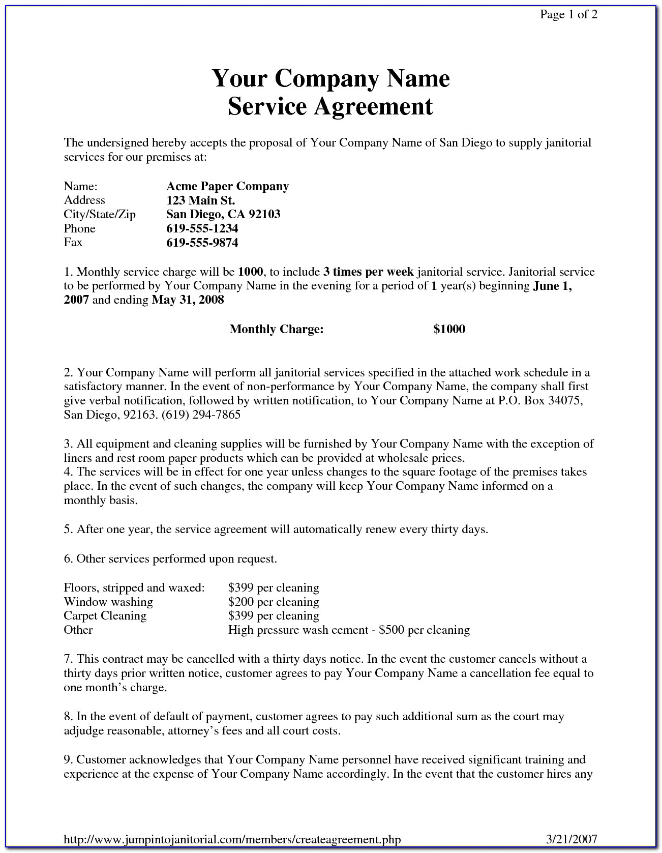 Carpet Cleaning Service Agreement Template