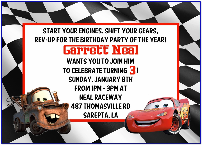 Cars 3 Birthday Invitation Template