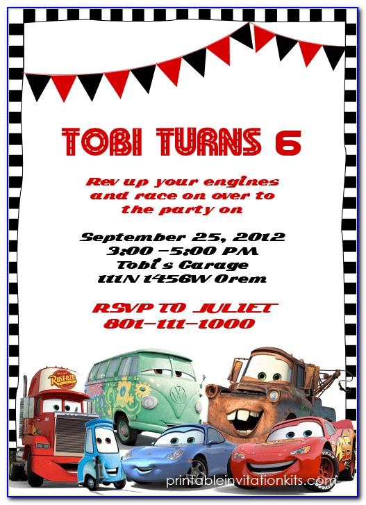 Cars Birthday Invitation Layout