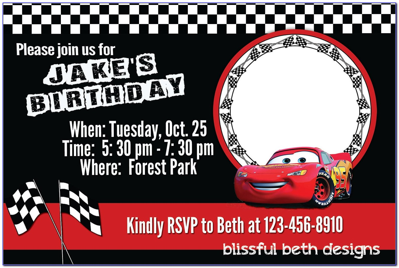 Cars Blank Template Birthday Invitation