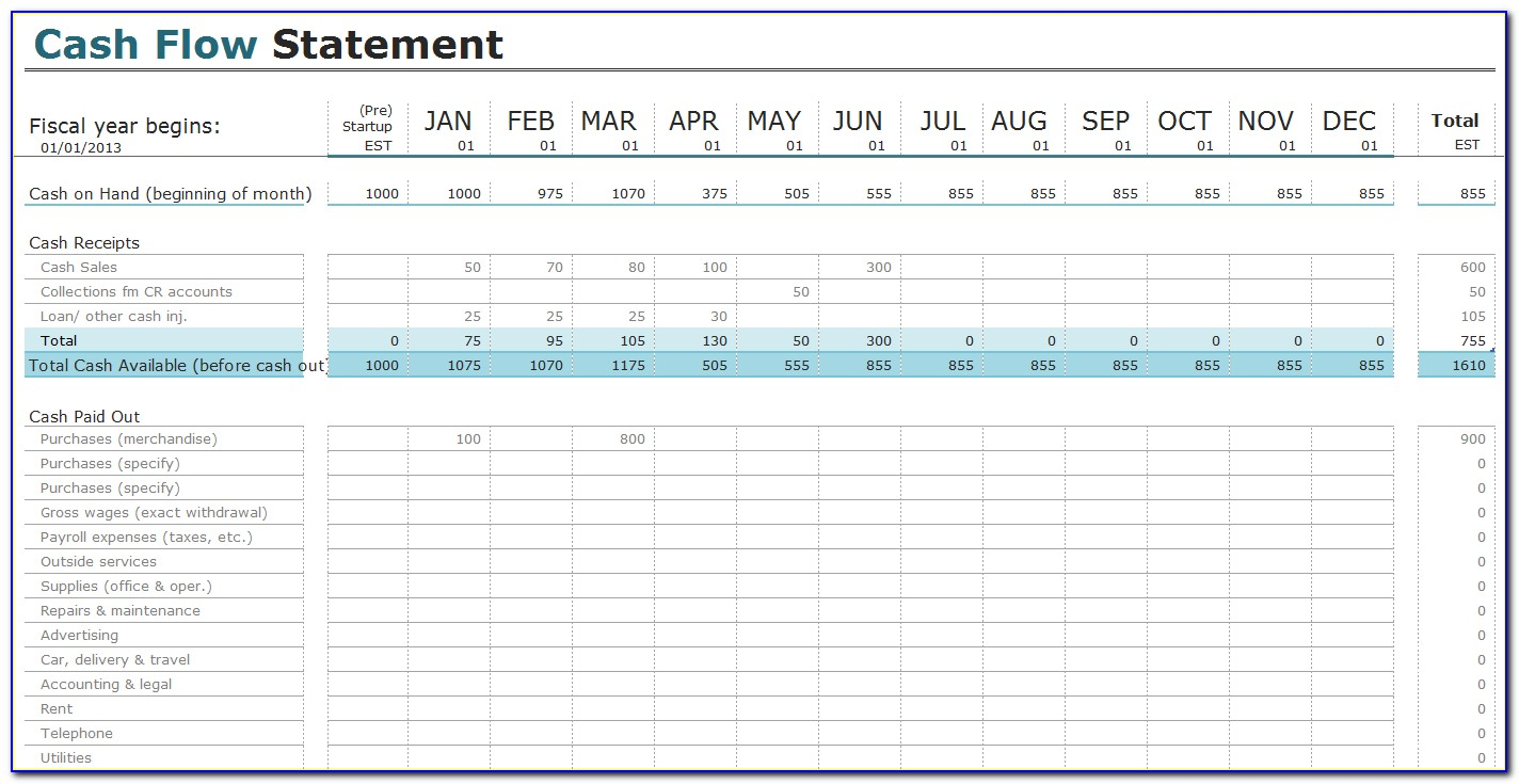 Cash Flow Projection Template Excel Free