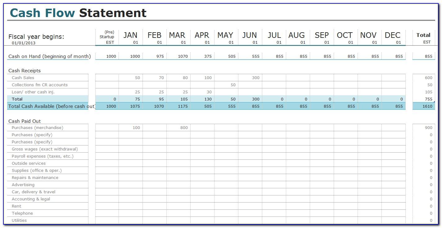 Cash Flow Projection Template Excel Free