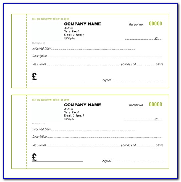 Cash Receipt Book Template