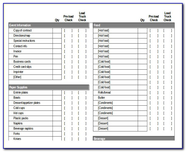 Catering Checklist Template
