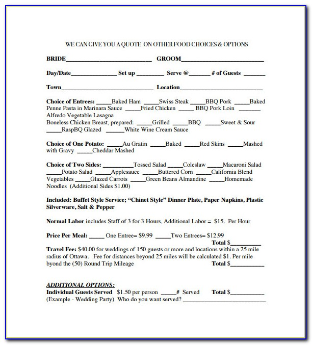 Catering Contract Template Free