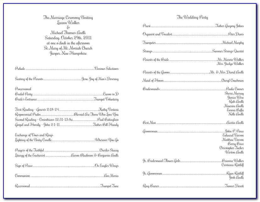 Catholic Wedding Ceremony Program Template With Mass