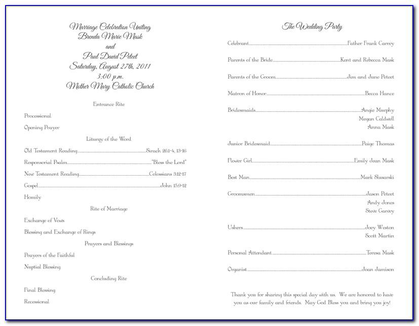 Catholic Wedding Ceremony Program Template Without Mass
