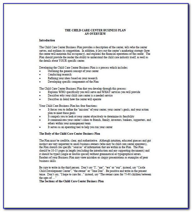 Child Care Business Plan Template Free