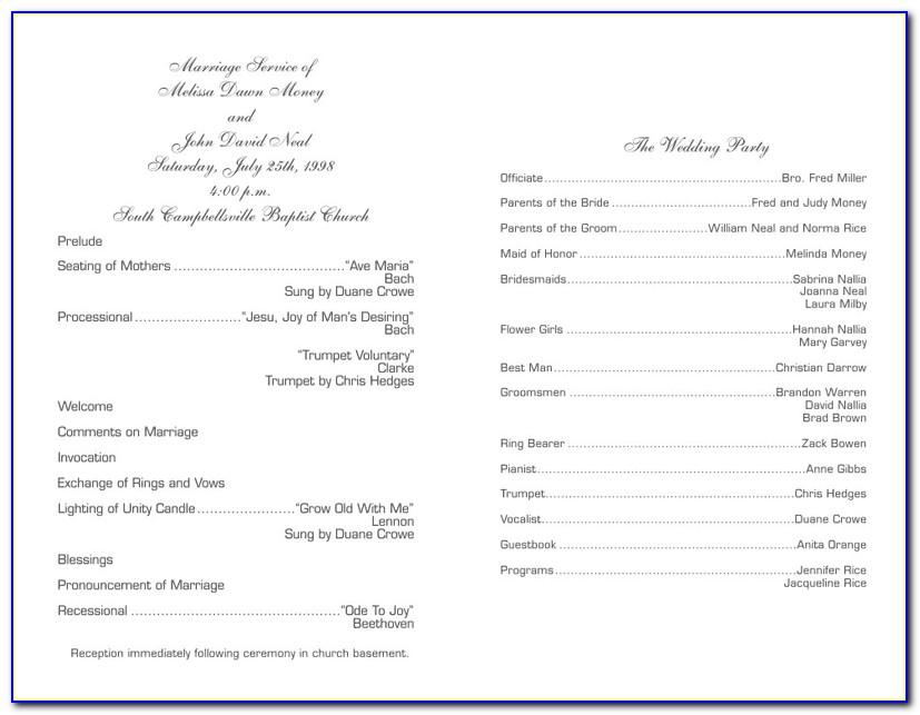 Christian Wedding Program Examples