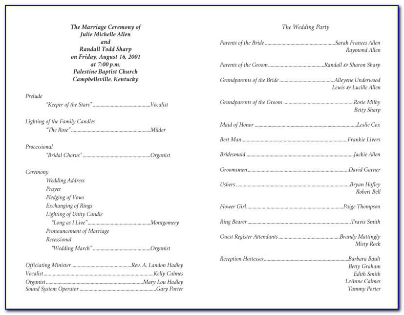 Christian Wedding Program Sample