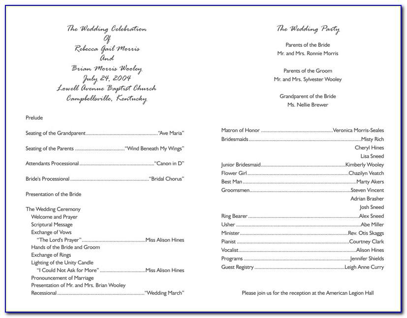 Christian Wedding Reception Program Sample