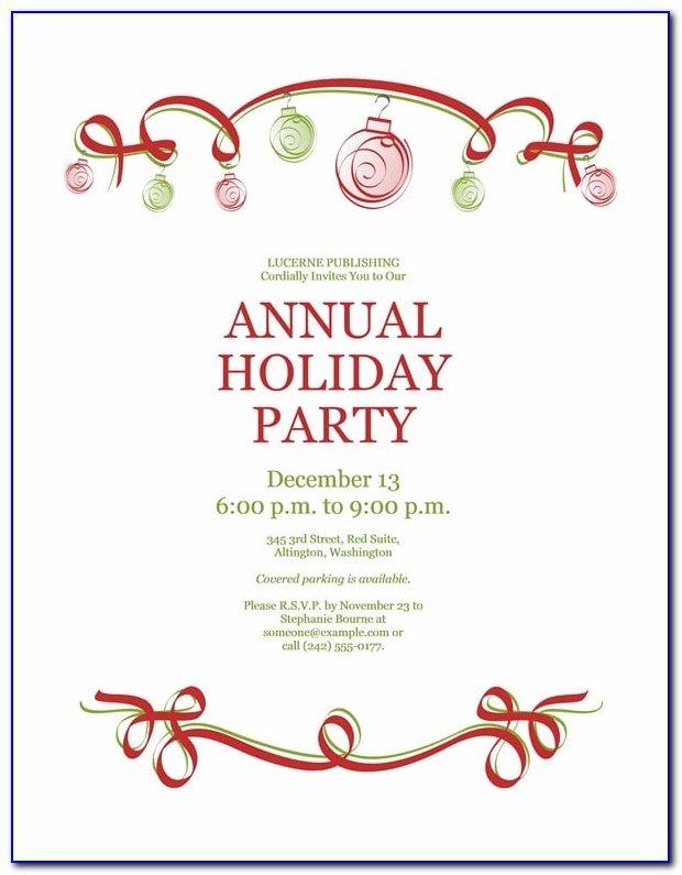 Download Free Printable Invitations Of Holiday Party Invitation With Within Holiday Party Invitation Template Word