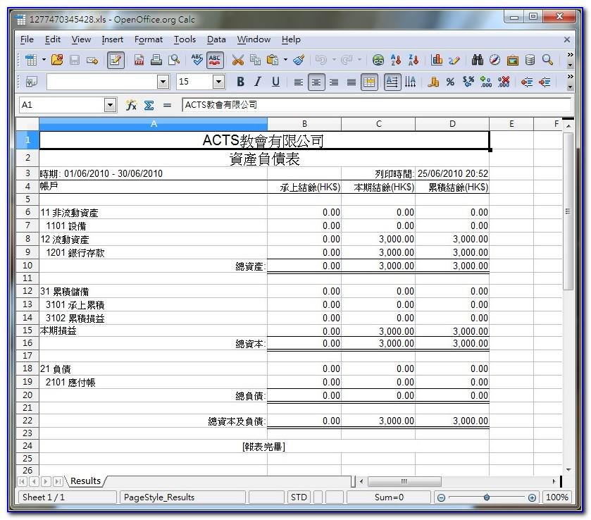 Church Balance Sheet Template Excel