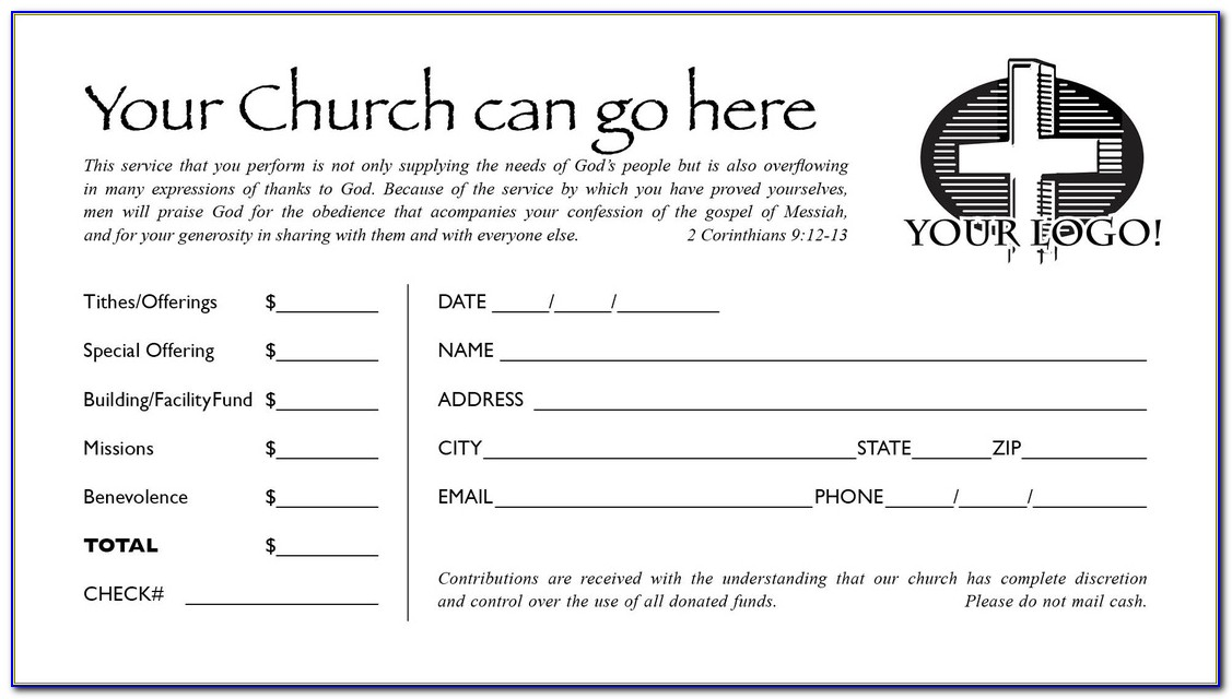 Church Offering Envelopes Template