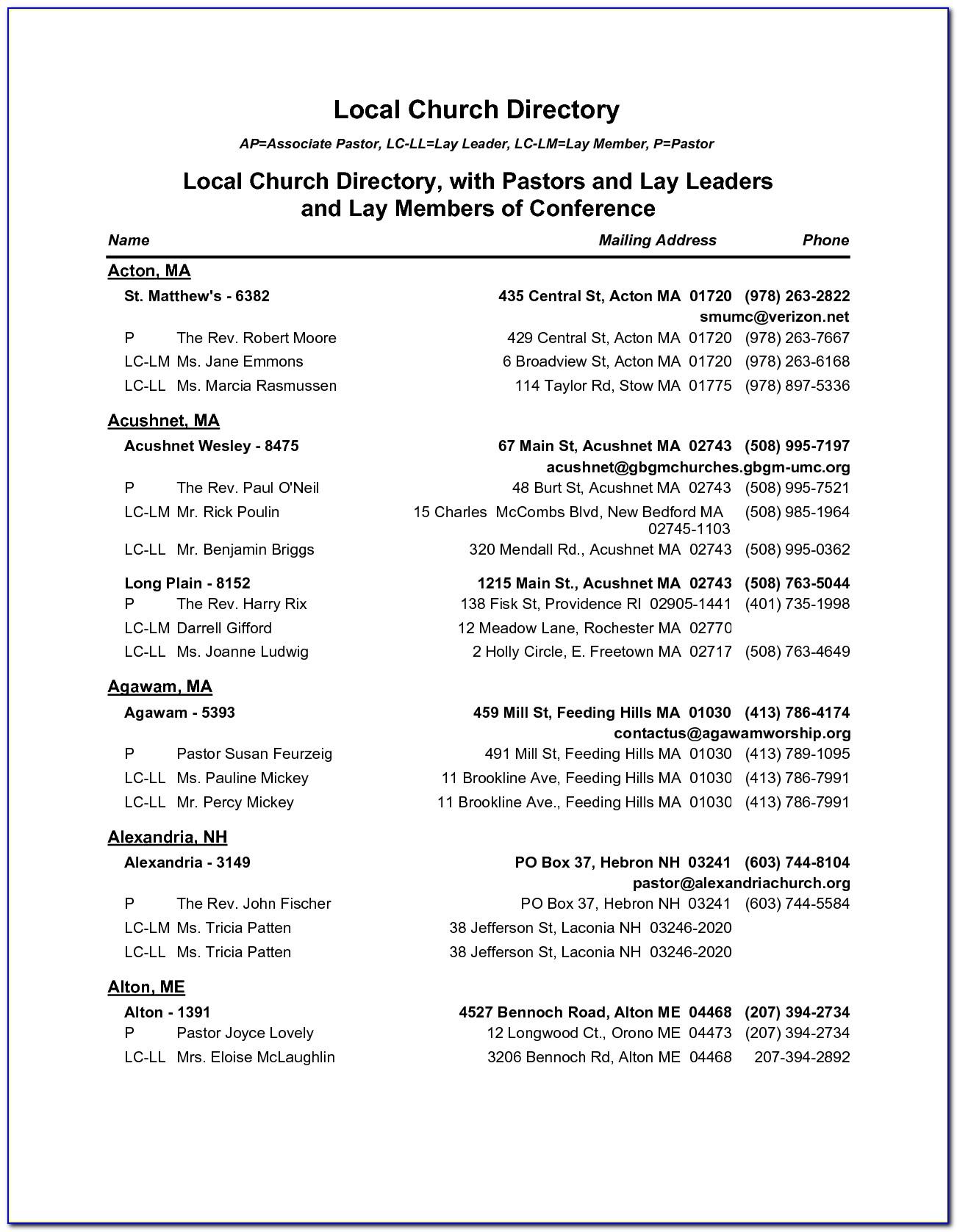 Church Phone Directory Template