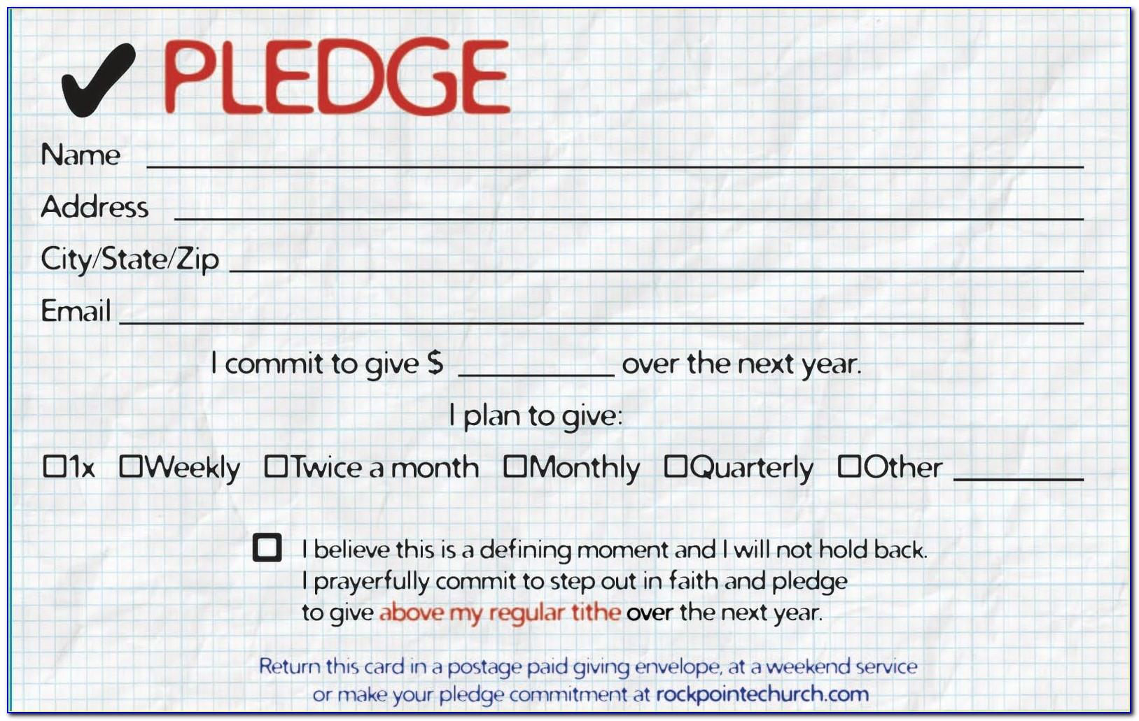 Church Pledge Card Template