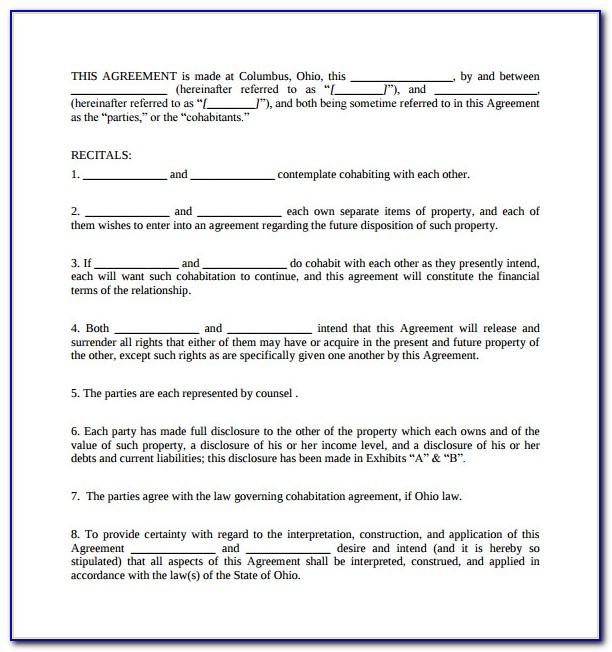 Cohabitation Agreement Template Alberta