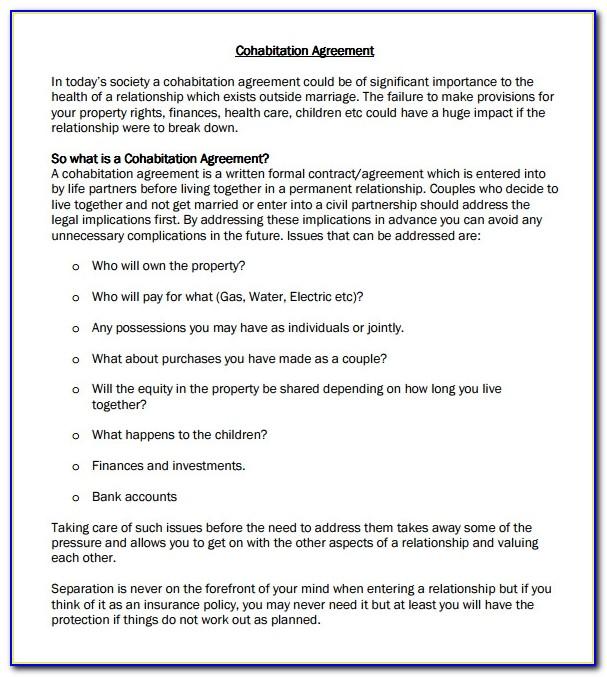Cohabitation Agreement Template Ontario