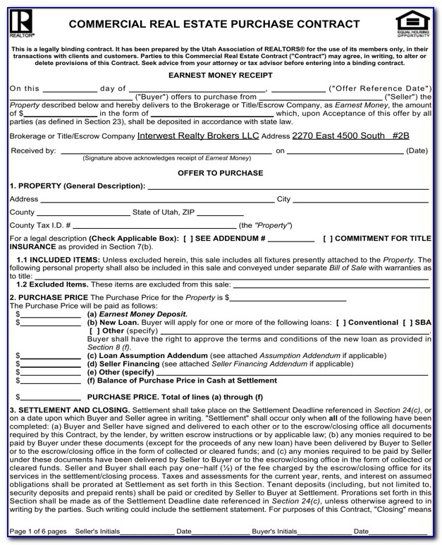 Commercial Real Estate Purchase Contract Template Maryland