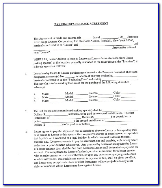 Commercial Space Rental Agreement Template