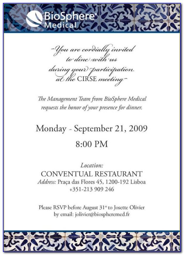 Company Dinner Invitation Wording