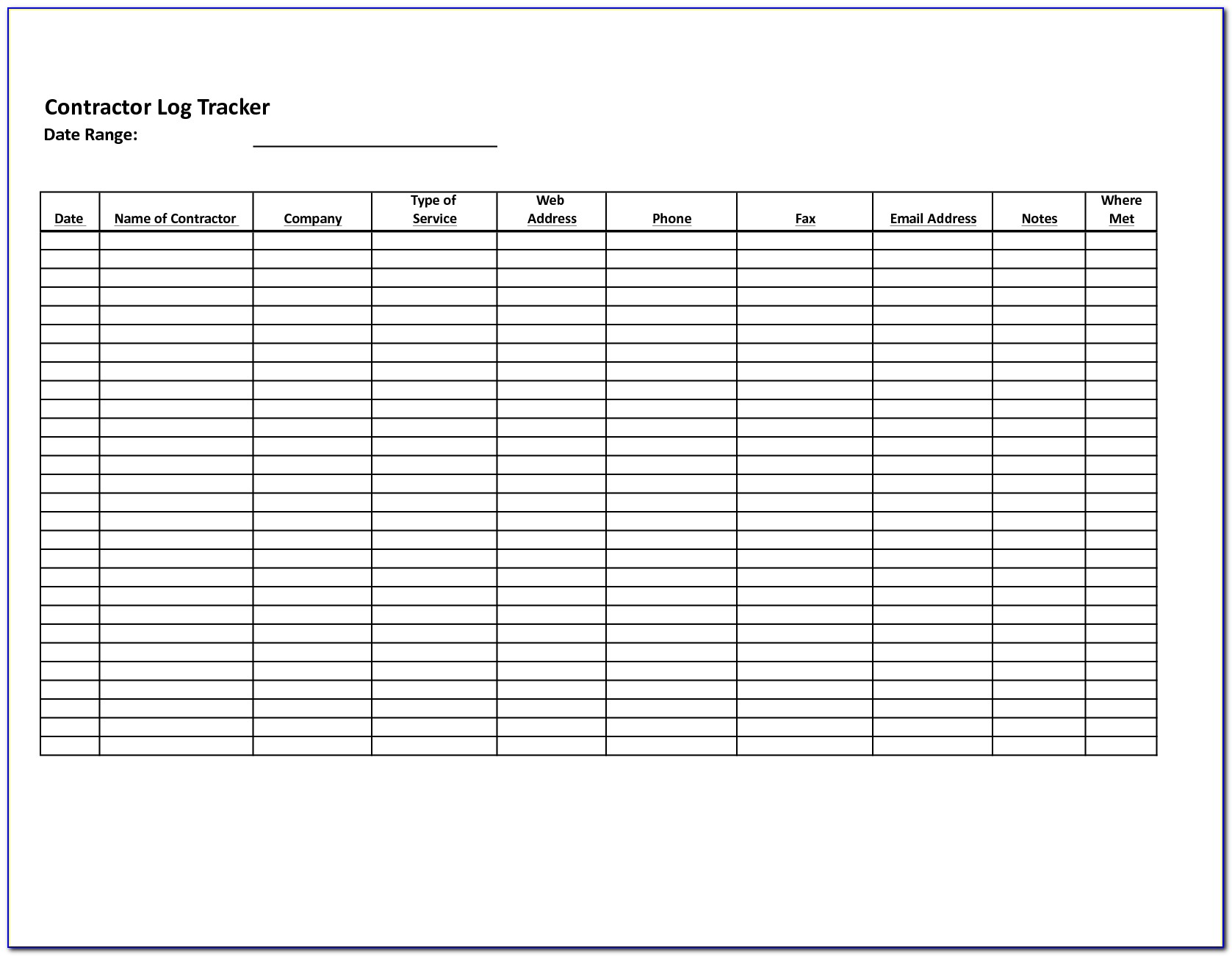 Construction Daily Log Book Template