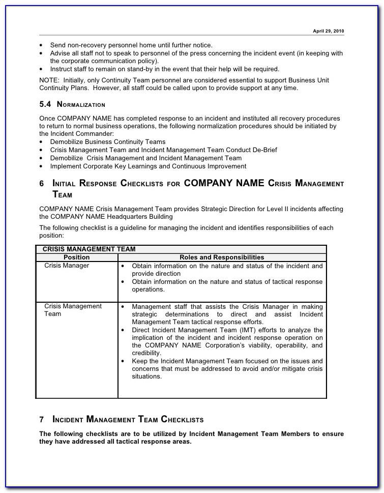 Construction Incident Management Plan Template
