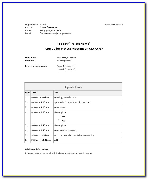 Construction Project Management Meeting Agenda Template
