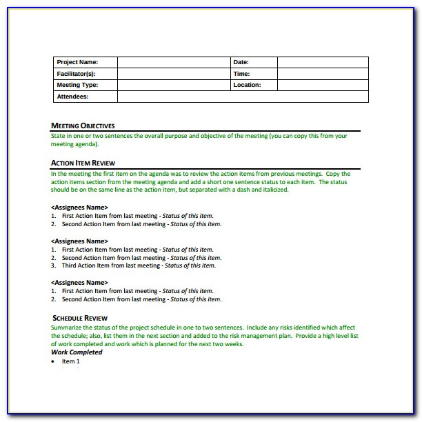 Construction Project Management Meeting Minutes Template