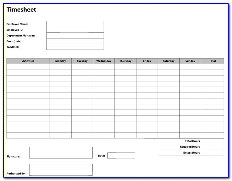 Construction Site Timesheet Template