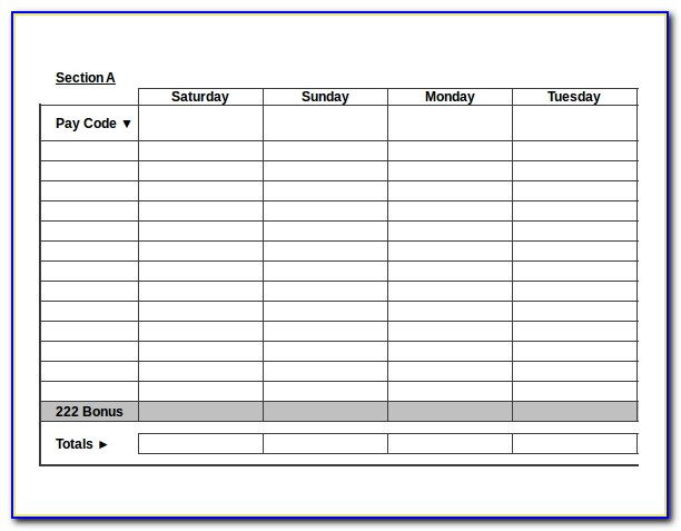 Construction Timesheet Template Free