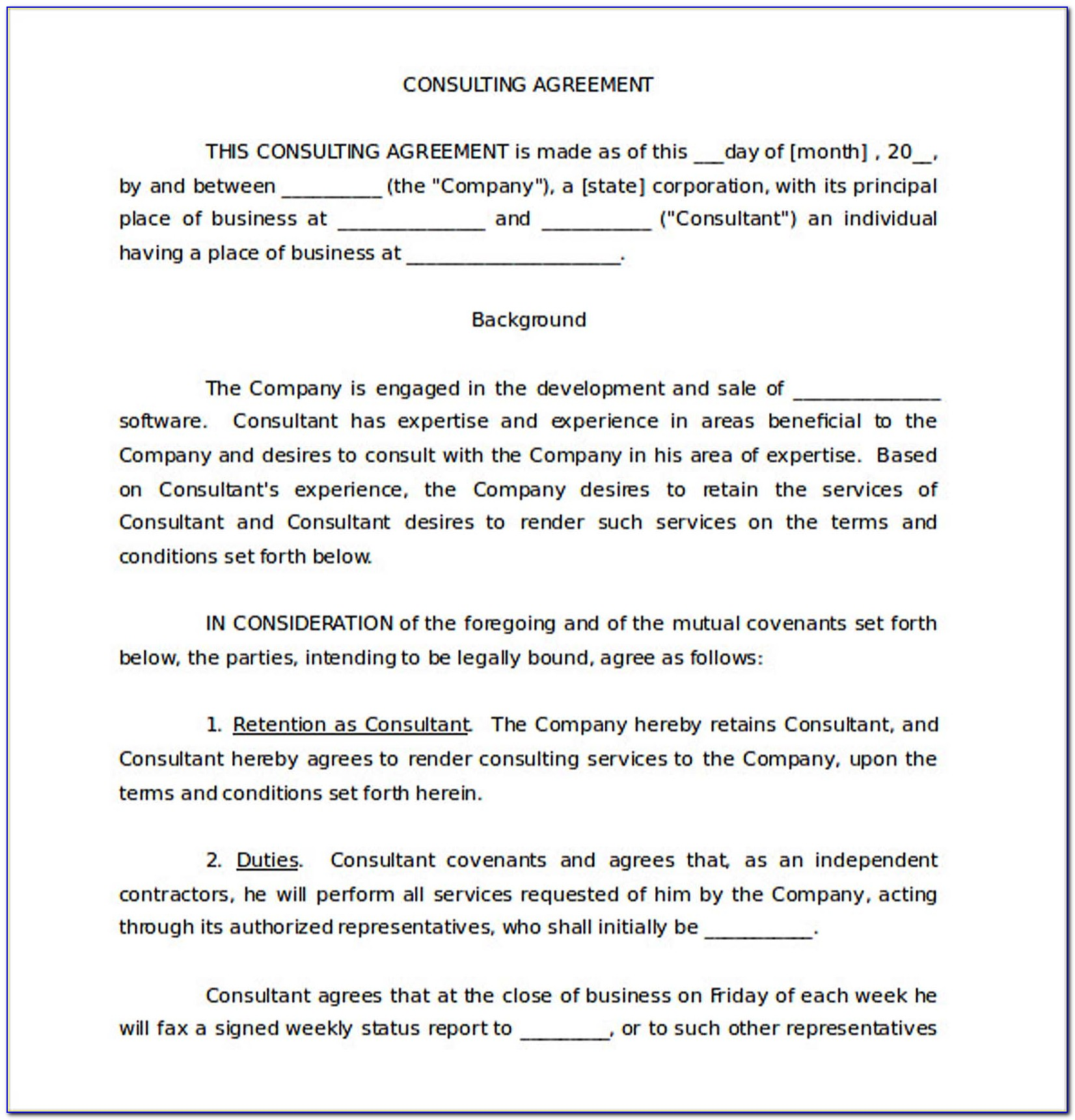 Consulting Agreement Templates Free
