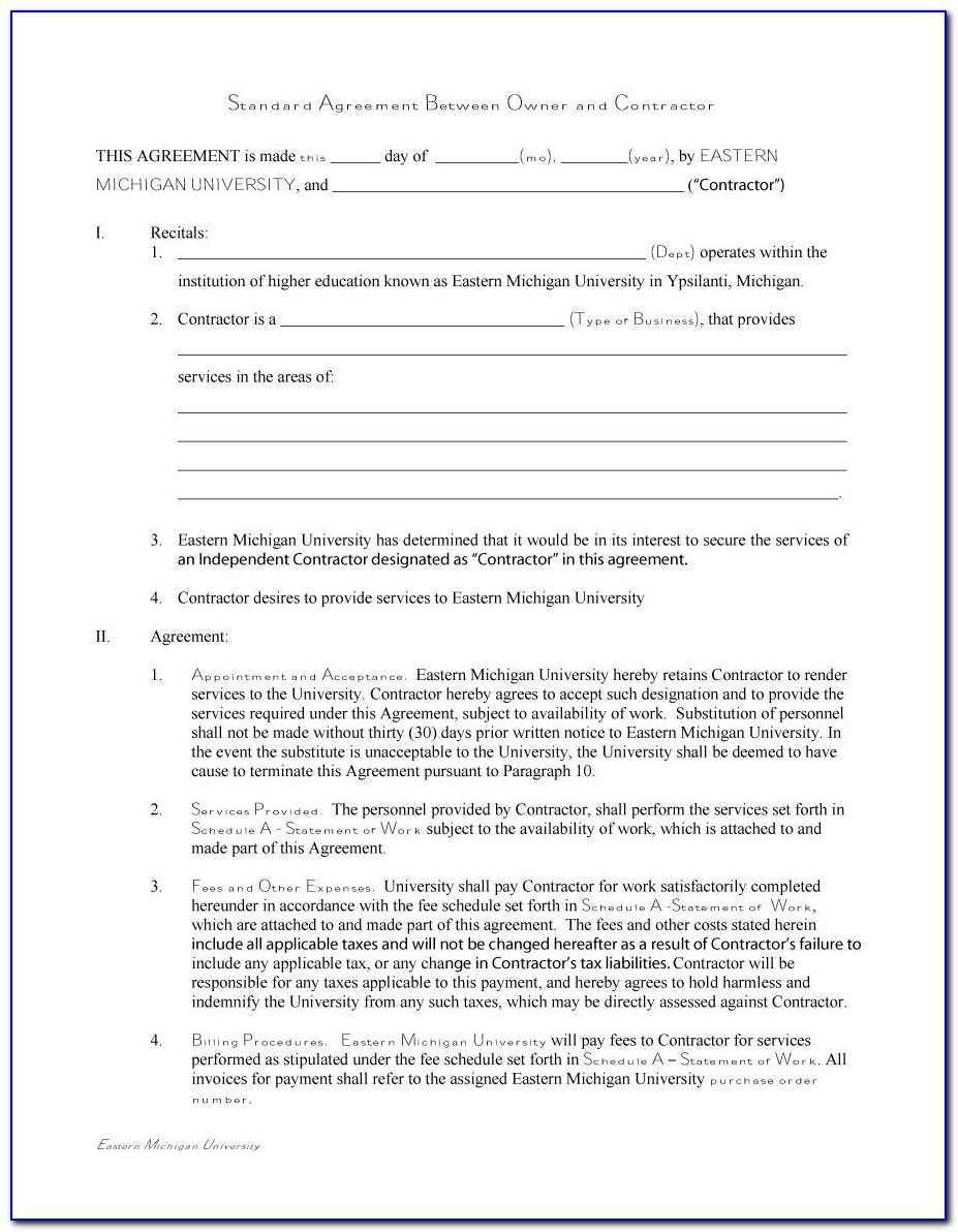 Contract For Contractors Template Free